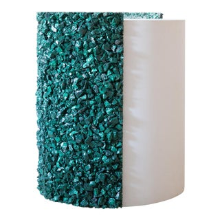 Hand Made Malachite and White Plaster Drum, Side Table by Samuel Amoia
