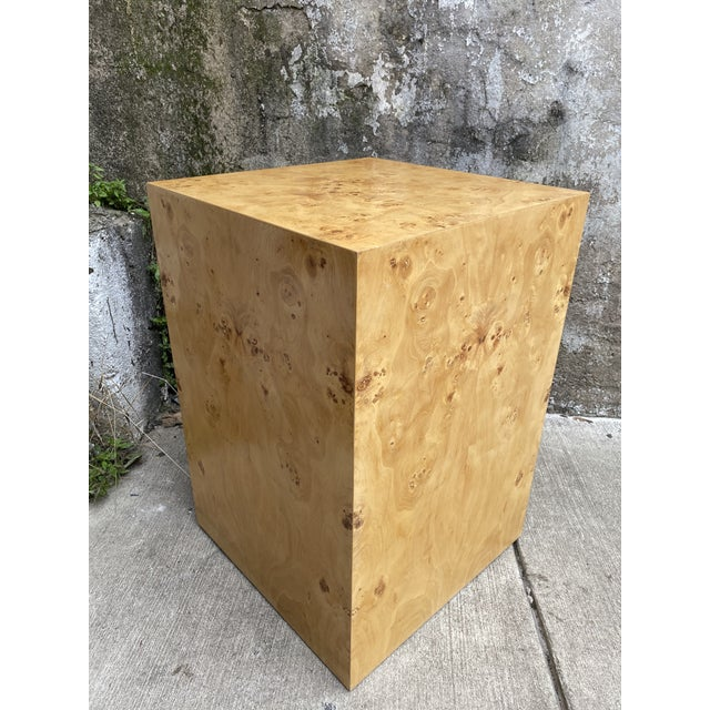 Milo Baughman Organic Burl Wood Tall Side End Table Cube Pedestal For Sale - Image 4 of 8