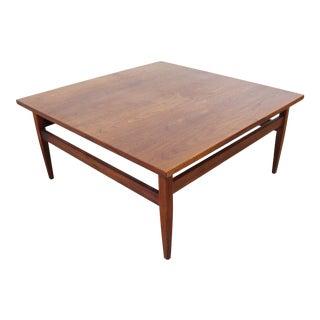 Mid-Century Danish Modern Square Teak Coffee Table For Sale