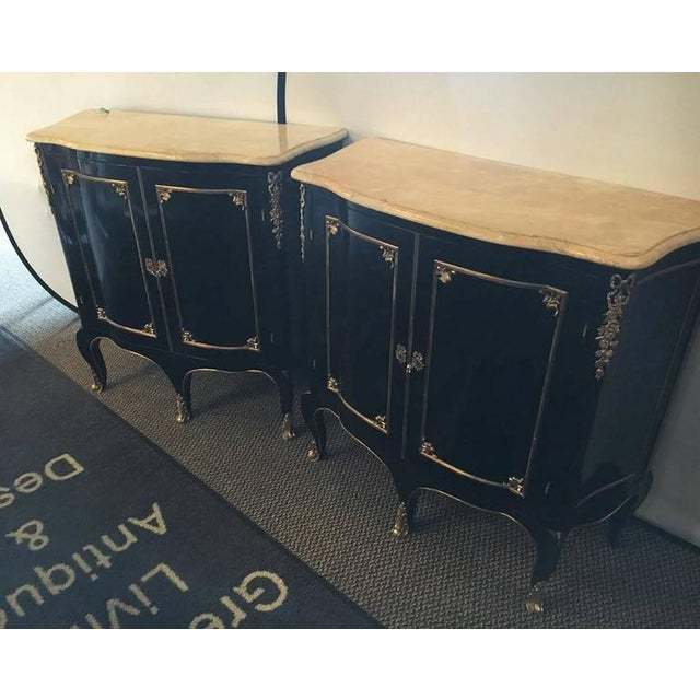Bronze Pair of Louis XV Style Cabinets Commodes or Nightstands in the Manner of Jansen For Sale - Image 7 of 9