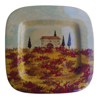 Italian Hand Painted Ceramic Plate For Sale