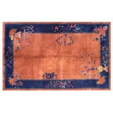 "Image of Chinese Art Deco Orange and Blue Rug - 5'x7'10"" For Sale"