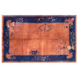 "Chinese Art Deco Orange and Blue Rug - 5'x7'10"" For Sale"