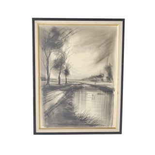 1960s Charcoal Landscape Drawing by Roger Etienne For Sale