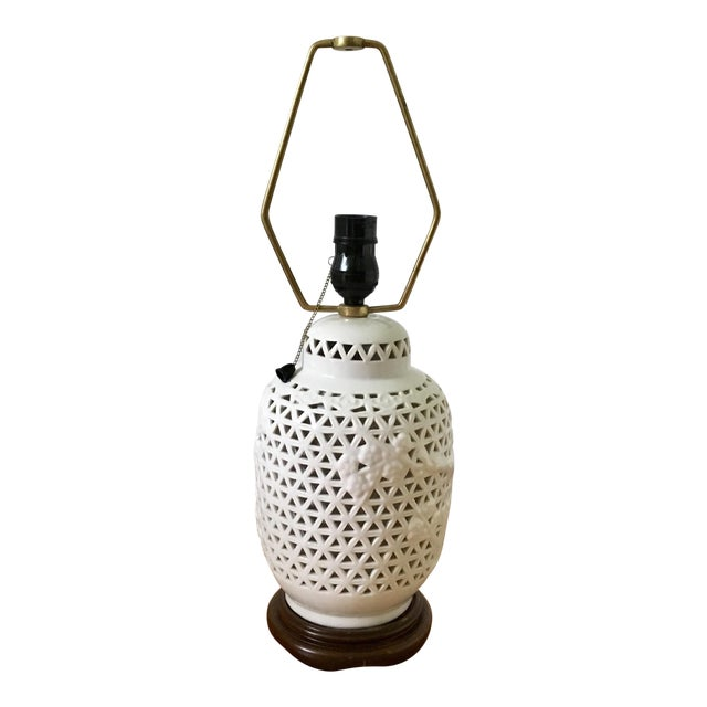 Pierced Blanc De Chine Accent Lamp For Sale