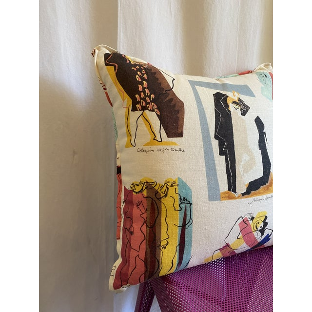 Pierre Frey Arlequins Vintage Custom Pillow With Butterfly Corners For Sale - Image 4 of 6