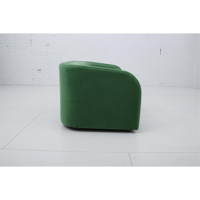 Milo Baughman Post Modern Barrel Back Settee in Green Mohair For Sale - Image 4 of 9