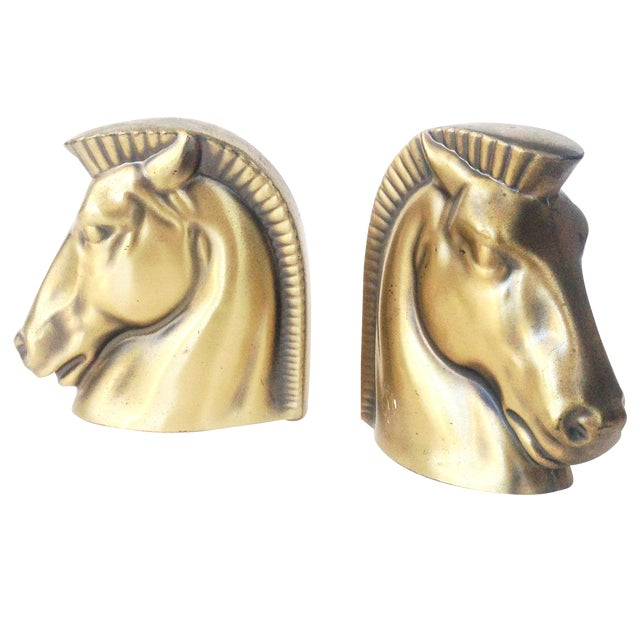 Vintage Gold Tone Horse Head Bookends - Image 1 of 5