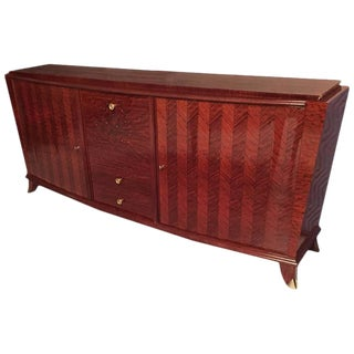French Art Deco Buffet With Drop Down Center Bar For Sale