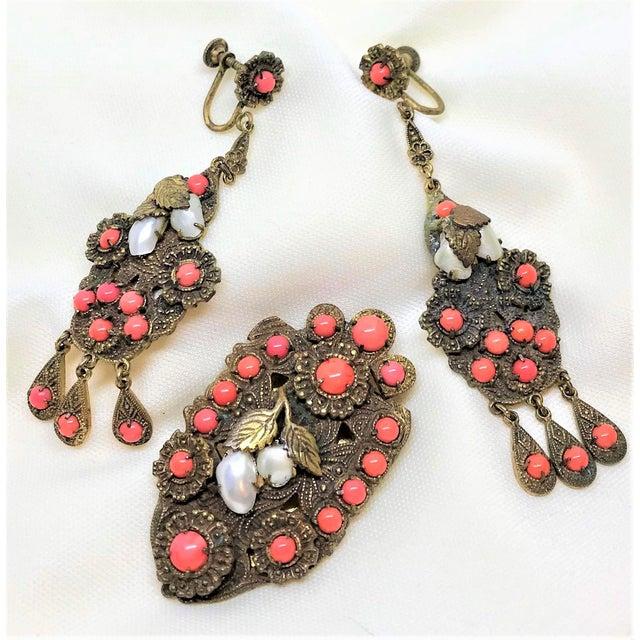 Art Nouveau 1920s Vintage Czech Faux-Coral Earrings and Dress Clip Set For Sale - Image 3 of 6