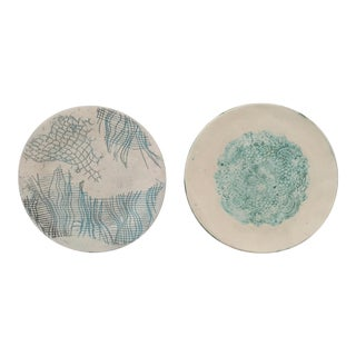 Vintage Mid Century Modern Studio Pottery Hand Pressed Signed Ceramic Plates - Set of 2 For Sale