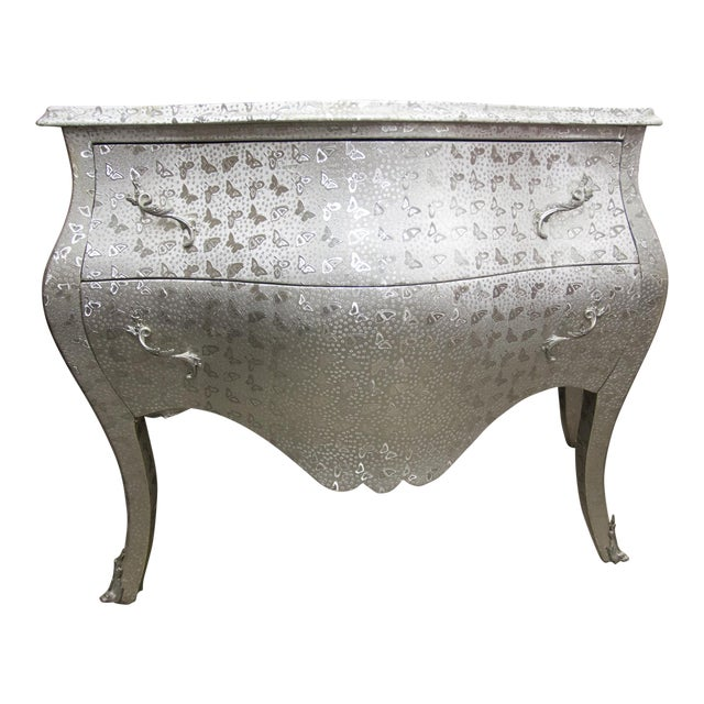 Silver Butterfly Print Dresser For Sale