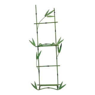Mid-Century Green Faux Bamboo Shelf For Sale