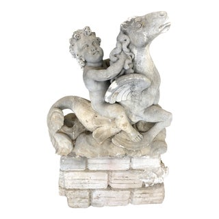 Antique Carved Stone Italian Putti Statue Fountain For Sale