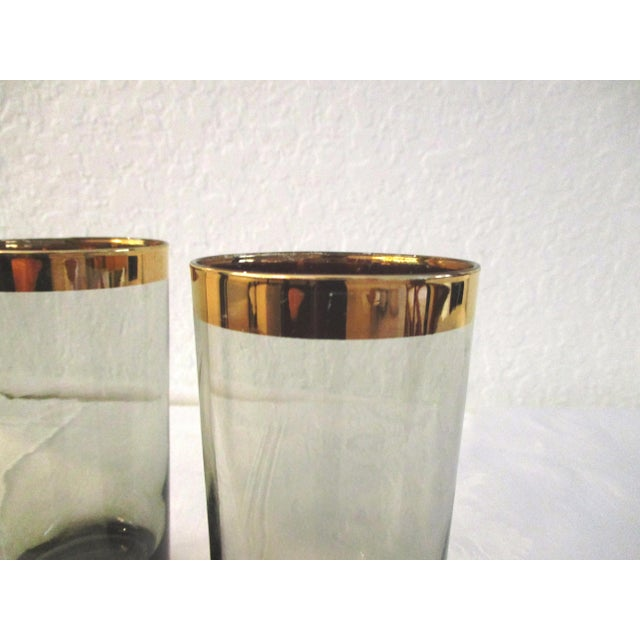 Mid-Century Modern 1970s Gold Banded Smoke Highball Glasses, Set of 7 For Sale - Image 3 of 5