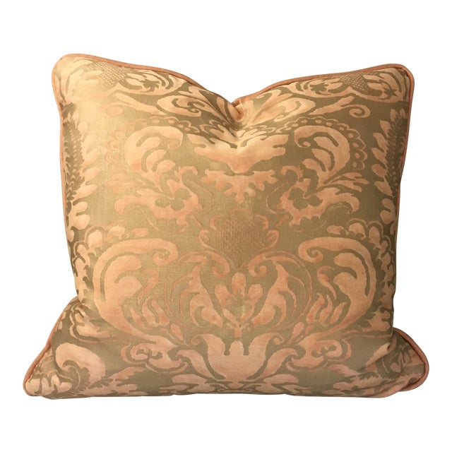Melon & Silvery Gold Fortuny Sevigne Pillow For Sale