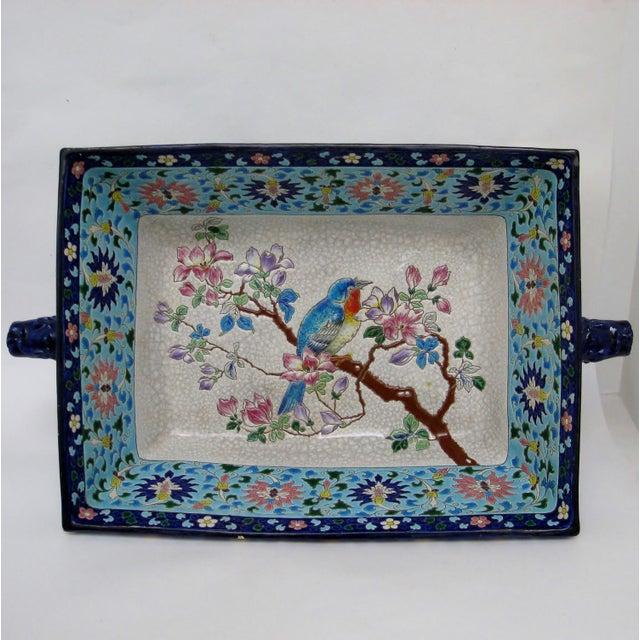 Asian Longwy Ceramic Jardiniere For Sale - Image 3 of 11