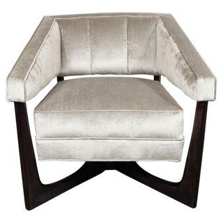Mid-Century Modern Ebonized Walnut and Platinum Velvet Armchair For Sale