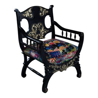 1990s Vintage Asian Inspired Black Wood Chair For Sale