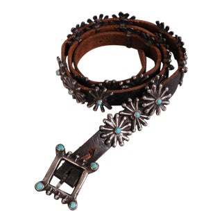 Native American Silver and Turquoise Concho Belt With Original Leather Strap For Sale