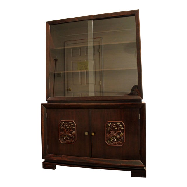 James Mont Mid-Century Asian Ming-Style Mahogany Display/China Cabinet For Sale