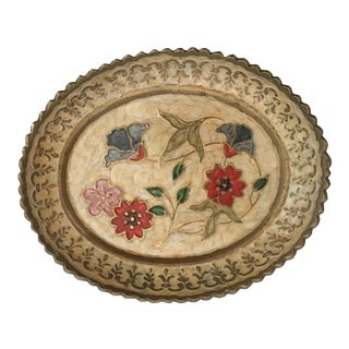 Small Enamel Brass Floral Dish