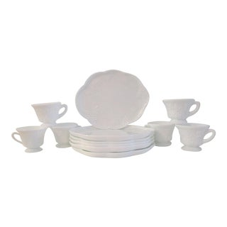 Mid-Century Milk Glass Concord Grape Snack Set - Service for 6 For Sale