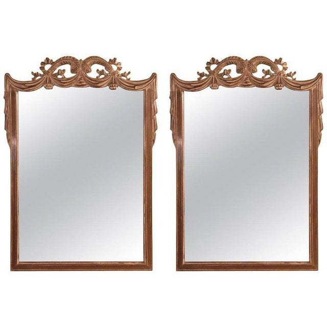 Compatible Hollywood Regency Grosfed House Ribbon and Tassle Form Mirrors, Pair For Sale - Image 13 of 13