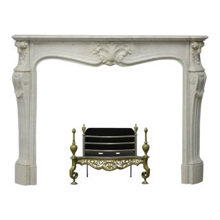Antique Fireplace Mantel in White Marble Very Elegant French Louis XV For Sale