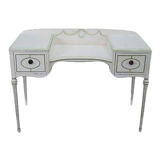 Hand Painted French Louis XVI Style Dressing Table Vanity For Sale