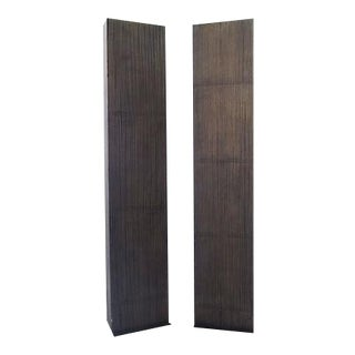 Faux-Wood Column Floor Lamps - A Pair For Sale
