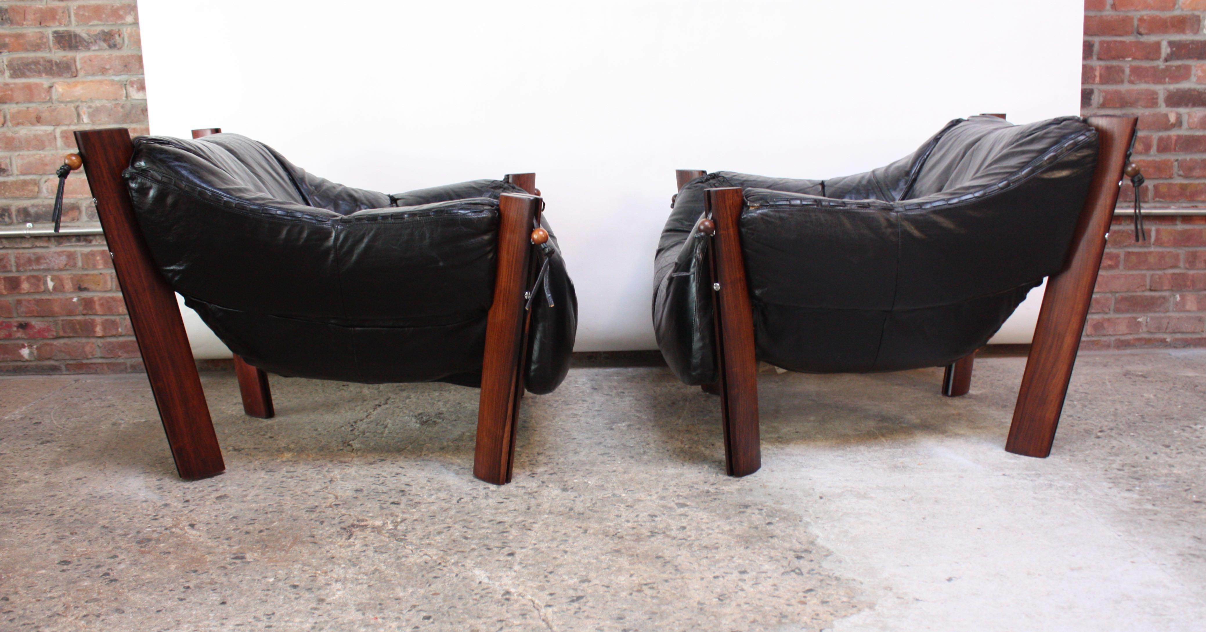 Pair Of Jacaranda And Leather Lounge Chairs And Ottoman By Percival Lafer    Image 6 Of