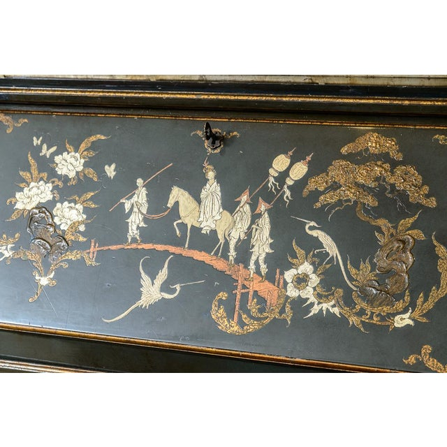 Chinoiserie Chippendale Hunter Green & Gold Hand Painted For Sale - Image 11 of 13