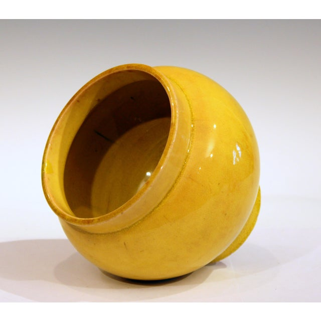 1910s Antique Japanese Awaji Pottery Yellow Monochrome Vase For Sale - Image 5 of 10