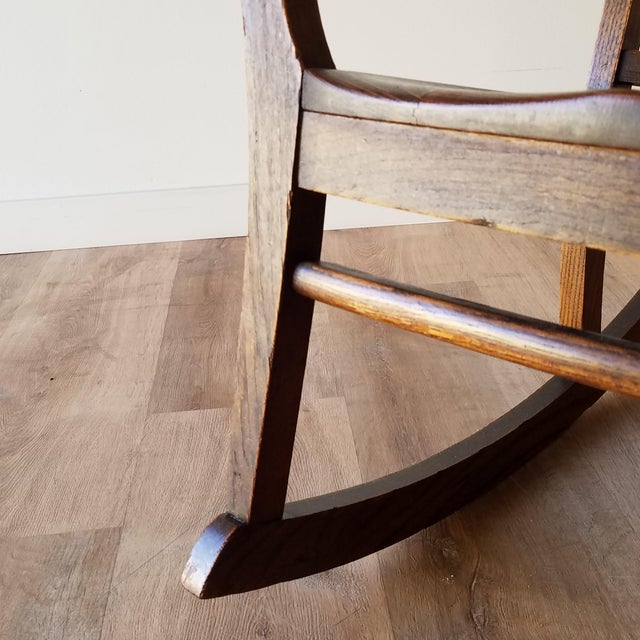Brown Early 20th Century Arts + Crafts Oak Rocking Chair For Sale - Image 8 of 13