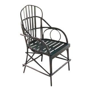 Faux Bois Aluminum Arm Chair - Dark Green For Sale