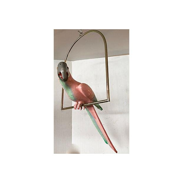 Hollywood Regency Papier Mache Parrot On Perch For Sale - Image 3 of 8