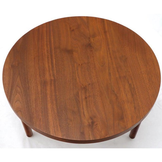 Thick Solid Teak Top Round Coffee Center Table For Sale - Image 10 of 11