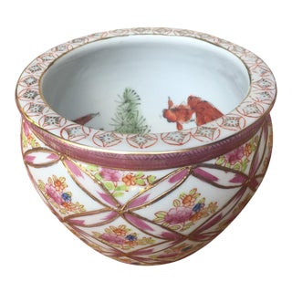 Vintage Chinese Fish Bowl Planter For Sale