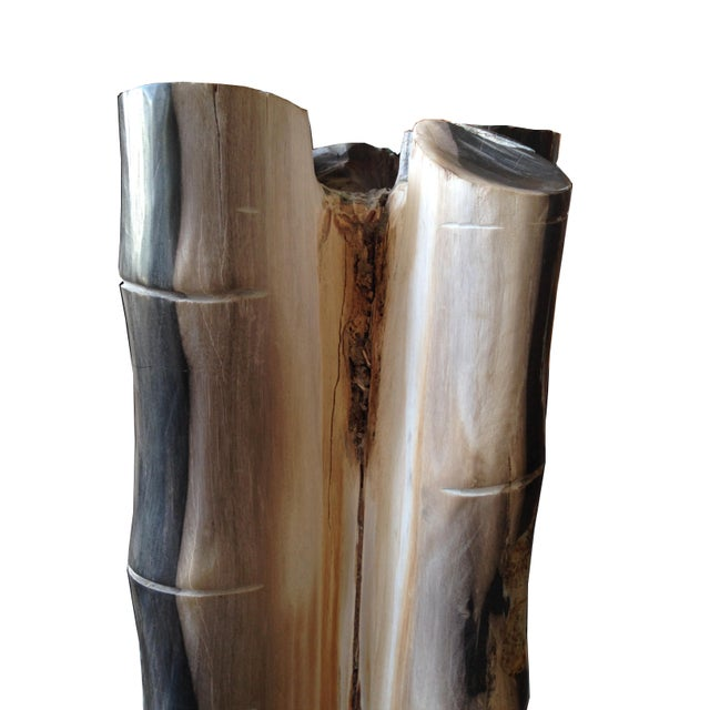 Antique Petrified Wood Bamboo Sculpture - Image 3 of 4