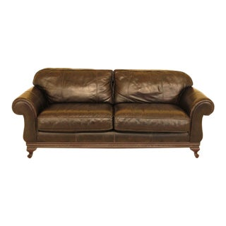 Traditional Brown Leather Sofa For Sale