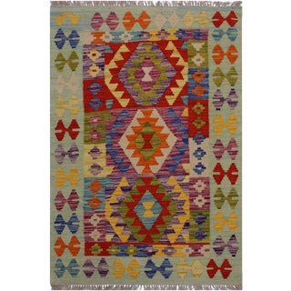 Shabby Chic Tribal Kilim Basil Hand-Woven Wool Rug -2'10 X 4'0 For Sale