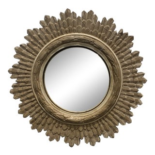 Small Natural Wood Sunburst Mirror For Sale