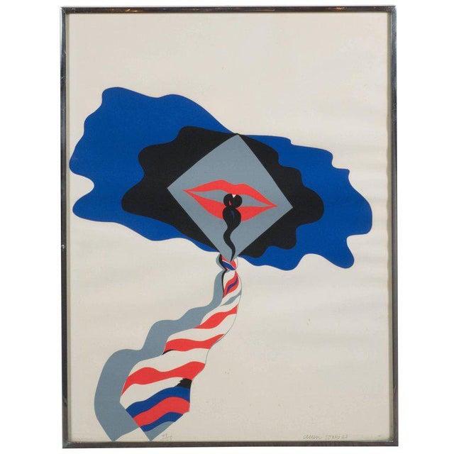 Mid-Century Modern Pop Art Print by Allen Jones in Black & Electric Blue/Red - Image 10 of 10