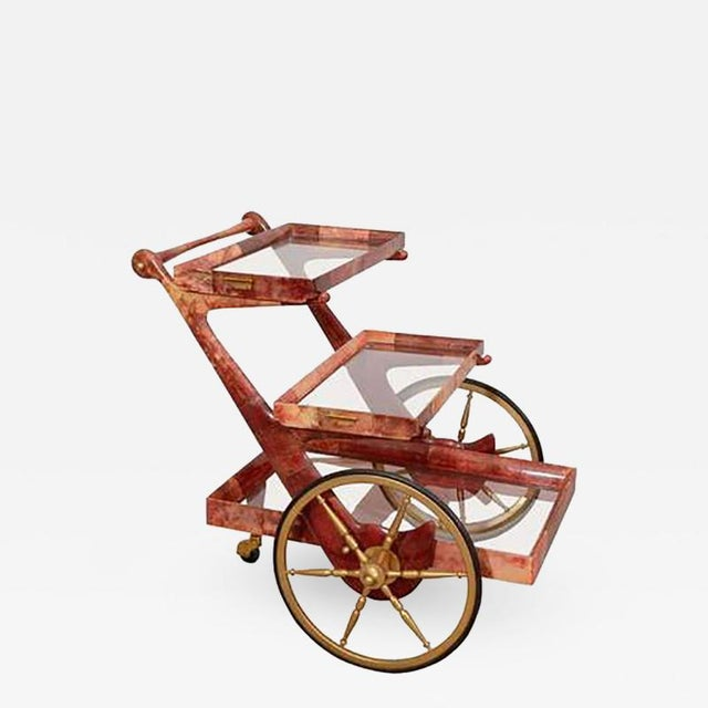 Late 20th Century Mid-century Rose-tone Goatskin Bar Cart by Aldo Tura For Sale - Image 5 of 5