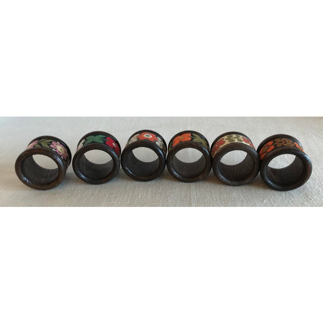 Vintage Wood & Woven Napkin Rings - Set of 6 For Sale - Image 4 of 7