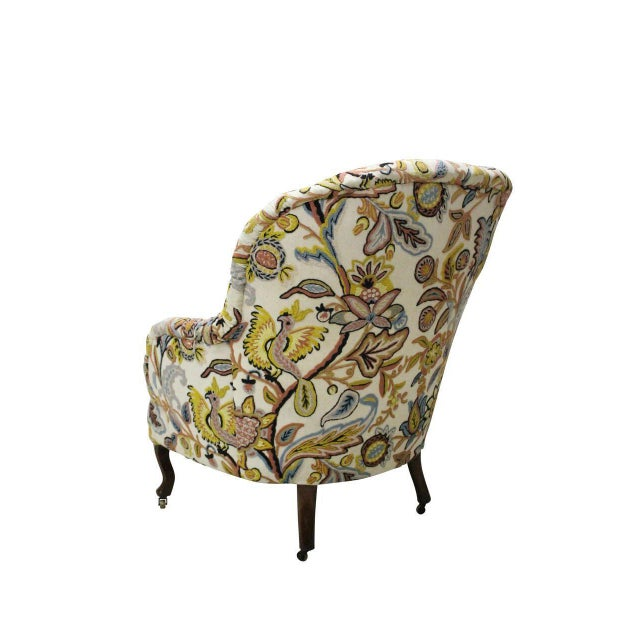 Boho Chic Tufted Crewelwork Victorian Club Chair For Sale - Image 3 of 3