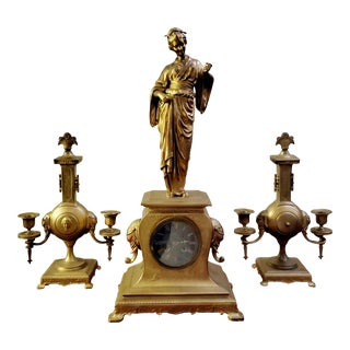 French Japy Freres Geisha Clock With Matching Candelabras - Set of 3 For Sale