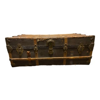 Early 20th Century WWII-era Henry Likly & Company Steamer Trunk For Sale