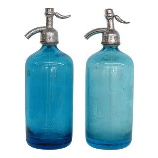 Vintage Carstan Bev Sparkling Water Brooklyn Ny Blue Seltzer Bottles - a Pair For Sale